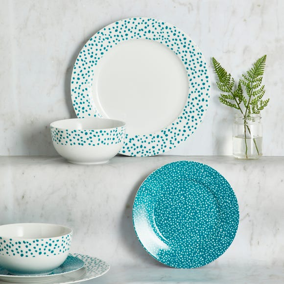 Dottie Teal 12 Piece Dinner Set Teal (Blue)