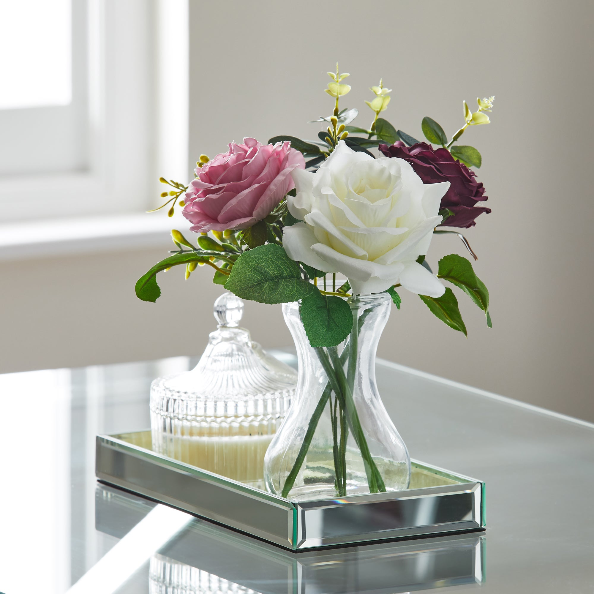 Click to view product details and reviews for Artificial Roses Multi In Glass Vase Multicoloured.