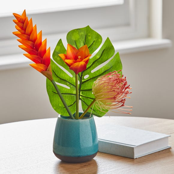 Artificial Tropical Flowers Multi in Teal Vase MultiColoured
