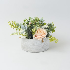 Artificial Roses Pink and White in Round Pot