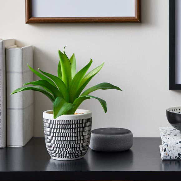 Artificial Leaves Green in Black and White Pot MultiColoured