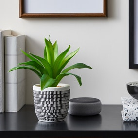 Artificial Leaves Green in Black and White Pot