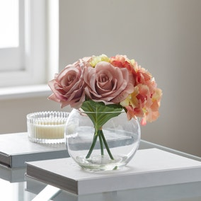 Artificial Flower Arrangement Multi in Fishbowl Vase