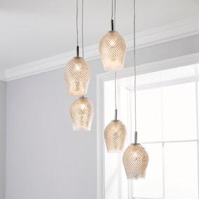 Kylee Mercury Glass 5 Light Cluster Ceiling Fitting