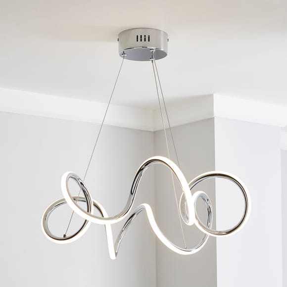 Skylar Curly LED Ceiling Fitting Silver