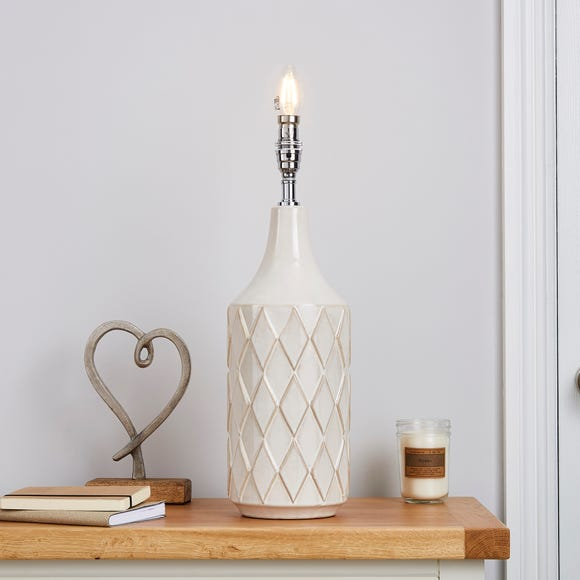 Teagan Textured White Ceramic Lamp Base White