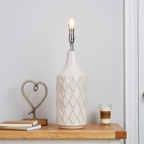 Teagan Textured White Ceramic Lamp Base