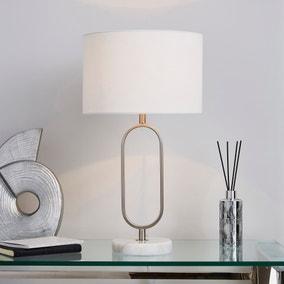 Carrara Real Marble Base Loop Table Lamp