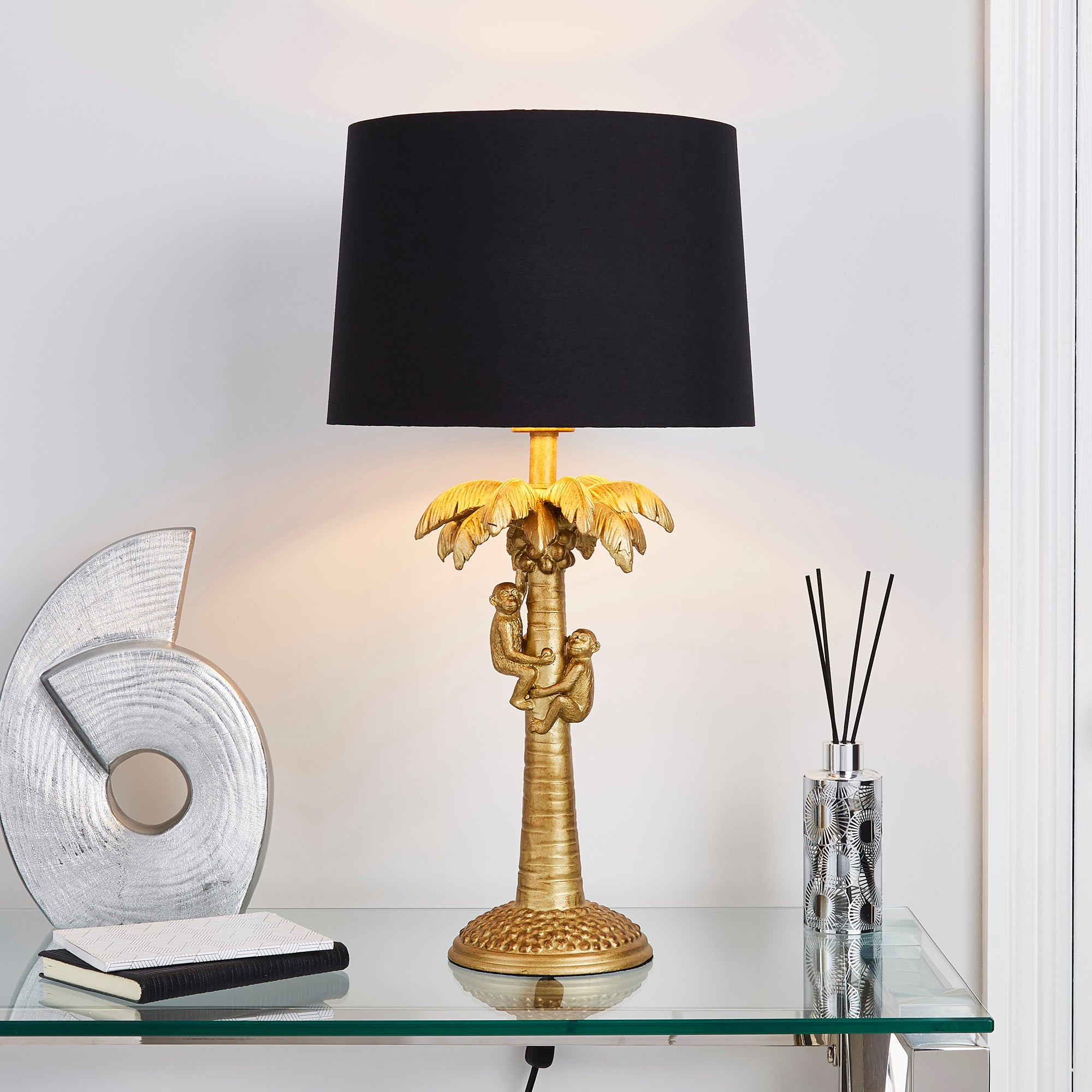 Click to view product details and reviews for Odisha Monkey On Palm Tree Table Lamp Antique Brass.