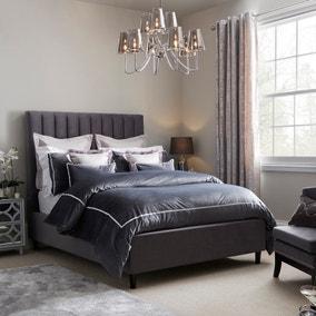 Arianna Velvet Grey Duvet Cover and Pillowcase Set