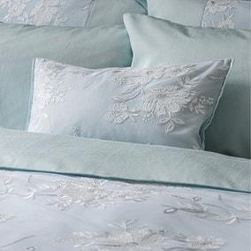Elene Blue Floral Sequin Boudoir Cushion