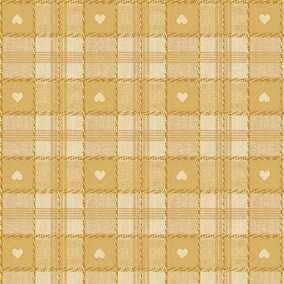 Hearts Ochre PVC Fabric