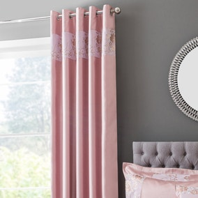 Elene Pink Floral Sequin Blackout Eyelet Curtains