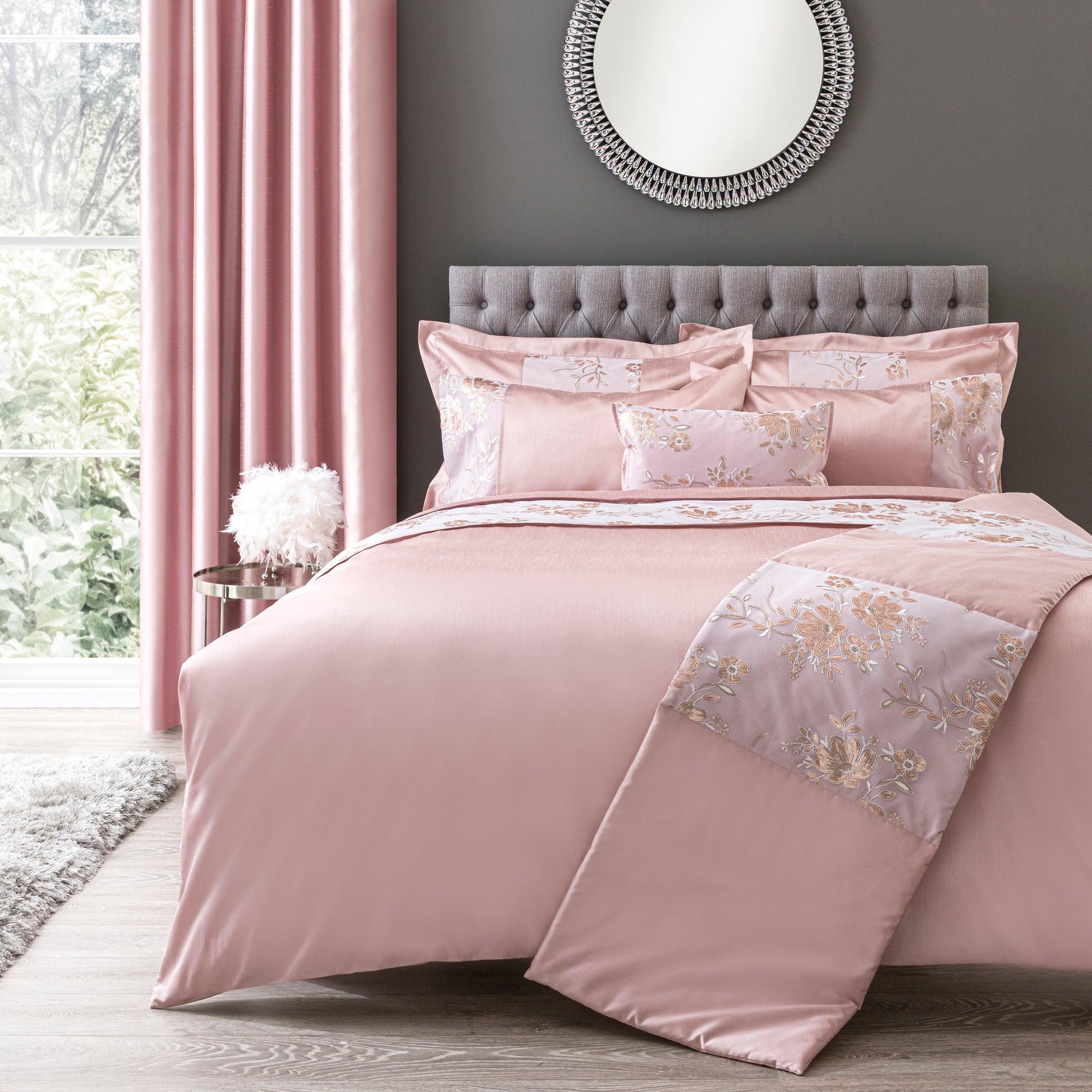 Dunelm Elene Pink Floral Sequin Duvet Cover and Pillowcase Set Pink Double