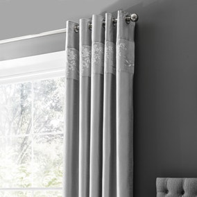 Elene Silver Floral Sequin Blackout Eyelet Curtains