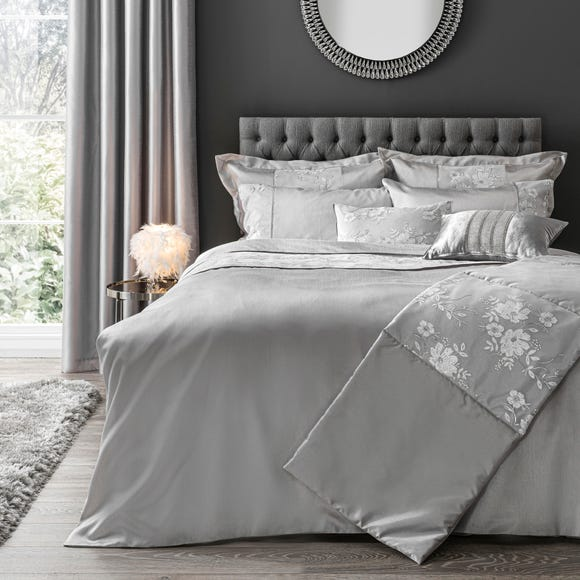 Elene Silver Floral Sequin Duvet Cover and Pillowcase Set  undefined