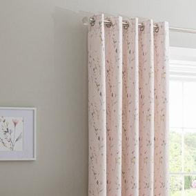 Fiori Pink Blackout Eyelet Curtains