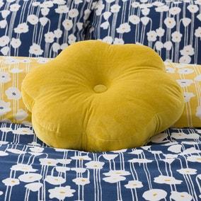 Yellow Velvet Flower Cushion