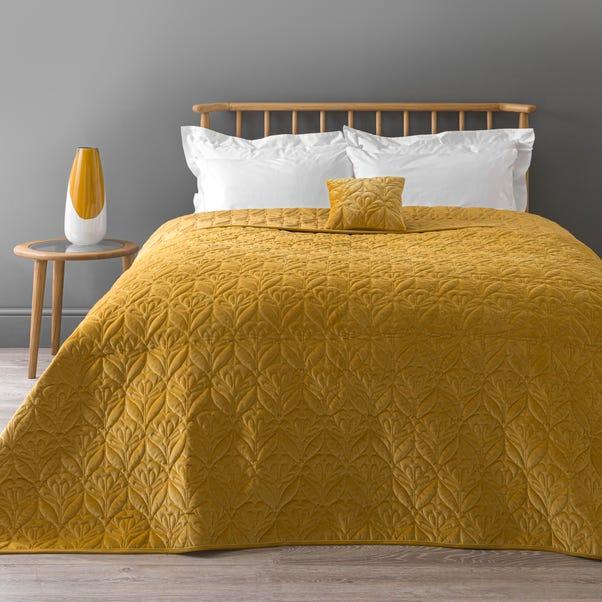 Stem Velvet Bedspread Ochre (Yellow) undefined