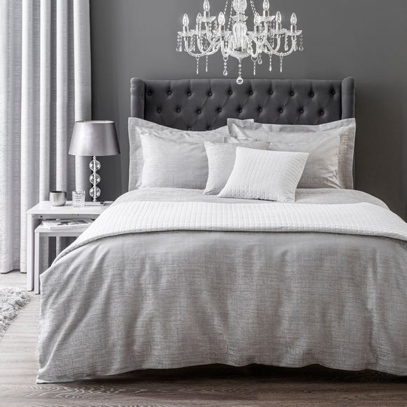 Tegan Silver Textured Duvet Cover and Pillowcase Set  undefined