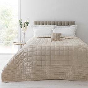 Velvet Square Champagne Bedspread