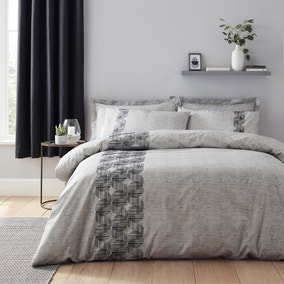 Elements Elton Grey Embroidered Duvet Cover and Pillowcase Set
