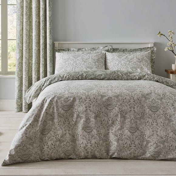 Evesham Green Duvet Cover And, Queen Bedding And Matching Curtains