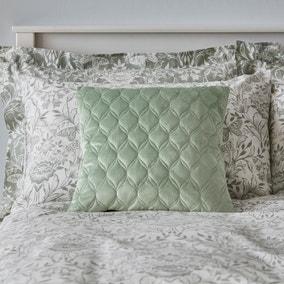 Evesham Green Quilted Velvet Cushion