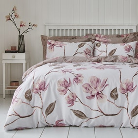 Lois Large Floral Pink Duvet Cover and Pillowcase Set