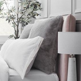 Dorma Purity Faux Fur Grey Continental Pillowcase