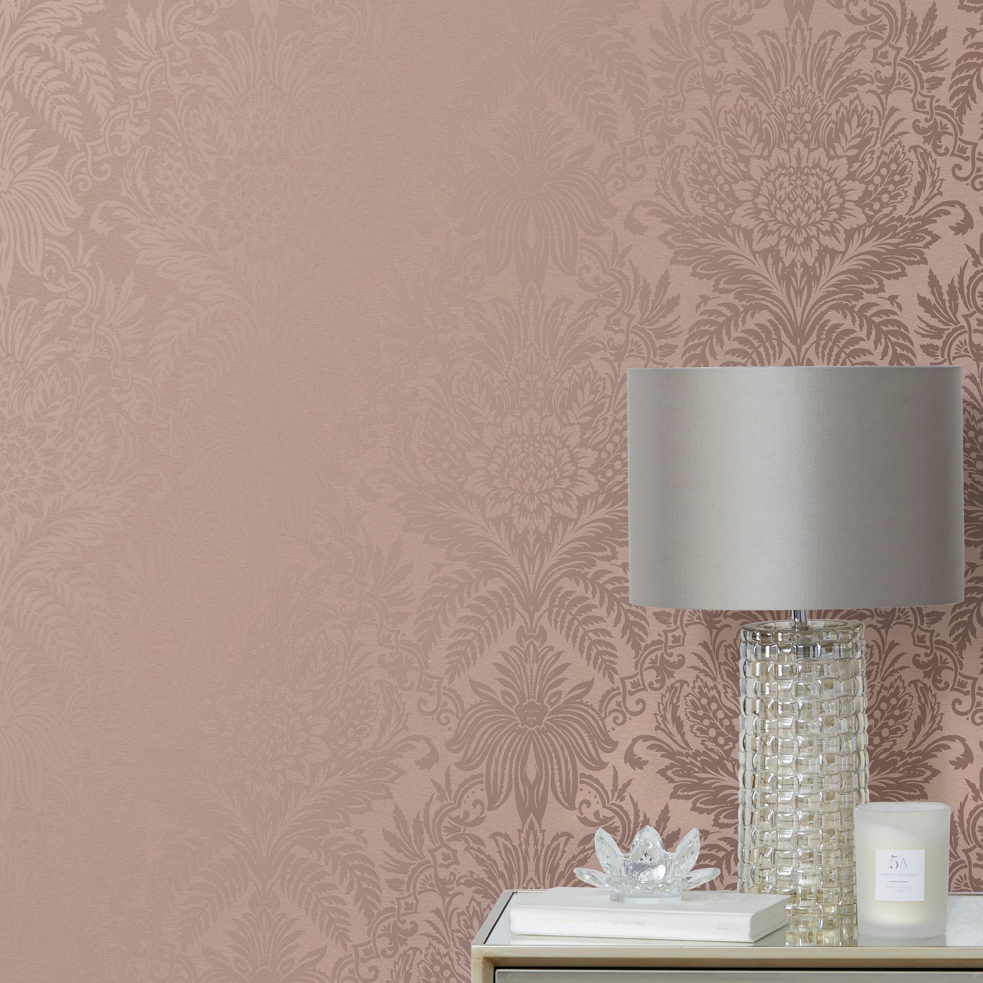 Click to view product details and reviews for Crown Signature Damask Rose Wallpaper Rose Gold.