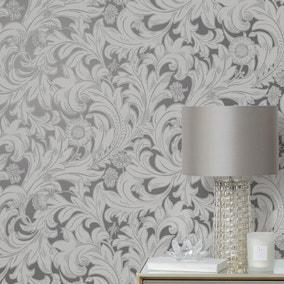 Meadow Scroll Grey Wallpaper