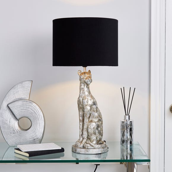 Leon Leopard Table Lamp Silver
