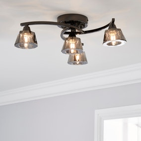 Vanessa Smoked 4 Light Flush Ceiling Fitting