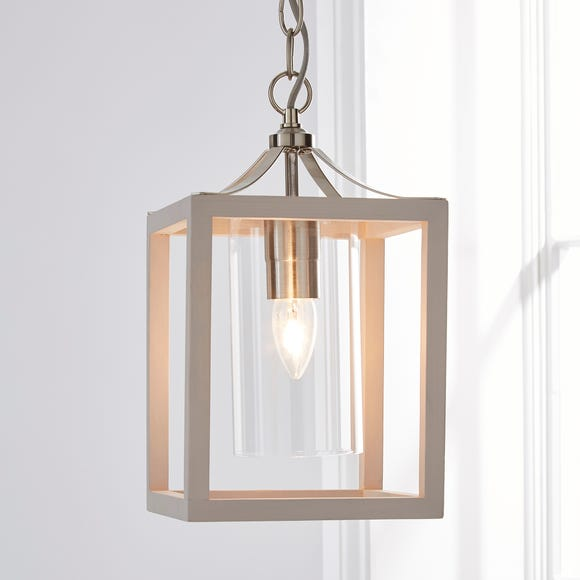 Tove Wooden 1 Light Pendant Ceiling Fitting Light Grey