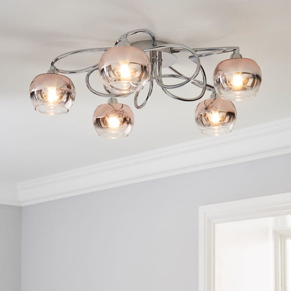 Seychelles Blush Pink 5 Light Flush Ceiling Fitting Blush (Pink)