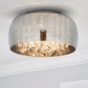 Seychelles Smoked Flush Ceiling Fitting