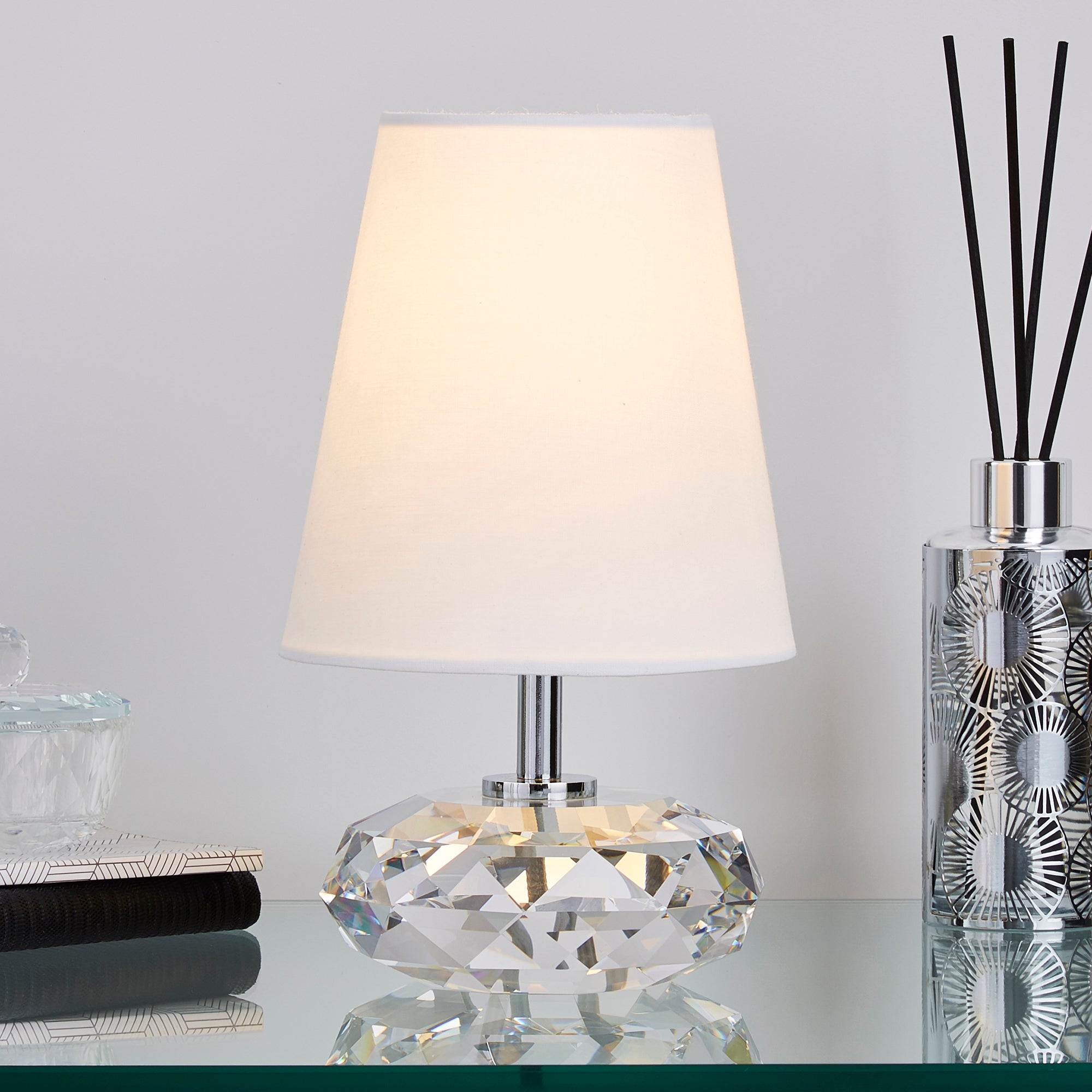 Dorma Small Crystal Table Lamp White
