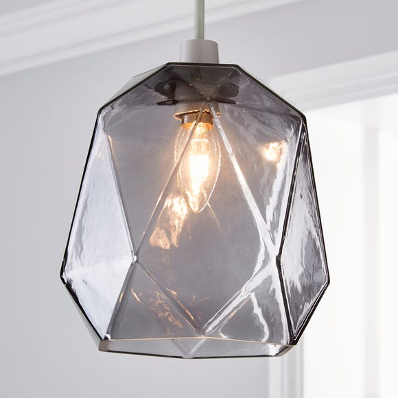 Ebba Faceted Glass Easy Fit Pendant Smoke