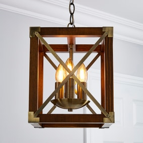 Trio 3 Light Pendant Natural Ceiling Fitting
