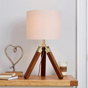 Trio Tripod Natural Table Lamp