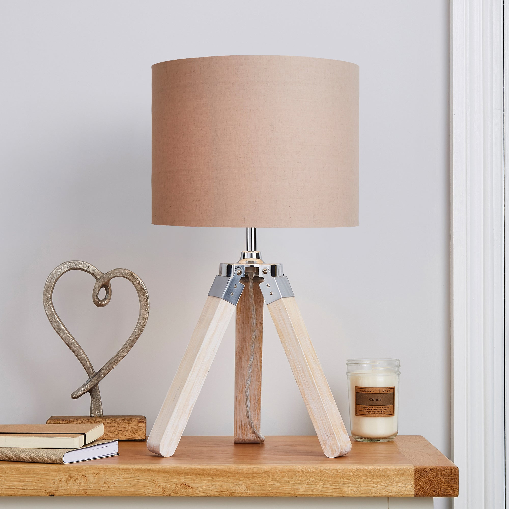 Trio Tripod Light Wood Table Lamp Brown