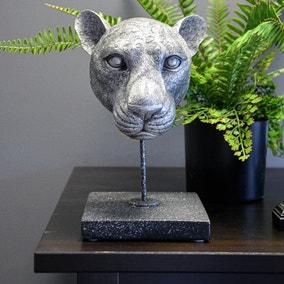 Silver Leopard Head Figurine