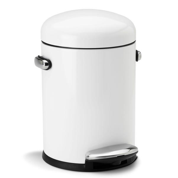simplehuman 4.5 Litre White Retro Pedal Bin