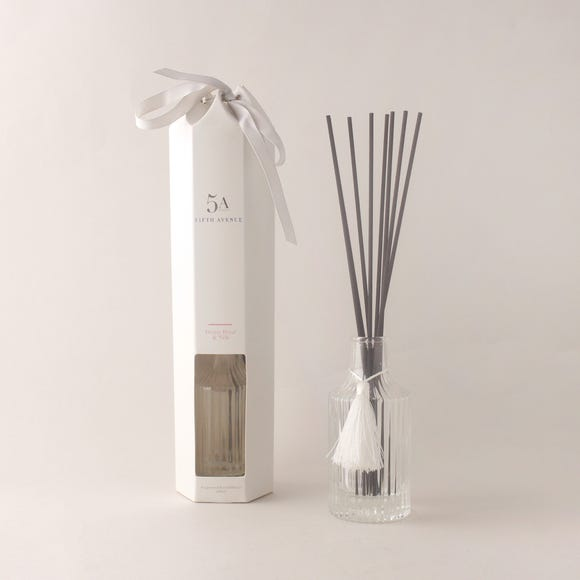 5A Ribbed Peony Petal and Silk 120ml Reed Diffuser Clear