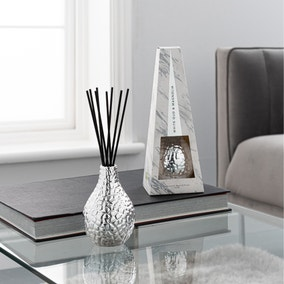 Hammered Metal Silver White Oud and Magnolia 100ml Reed Diffuser