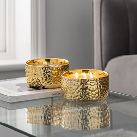 Hammered Metal Gold Amber and Mandarin Multiwick Scented Candle