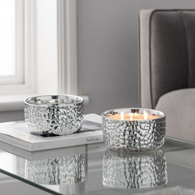 Hammered Metal Silver White Oud and Magnolia Multiwick Scented Candle