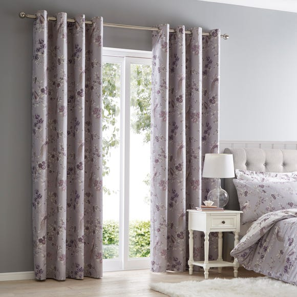 Oriental Bird Purple Blackout Eyelet Curtains  undefined