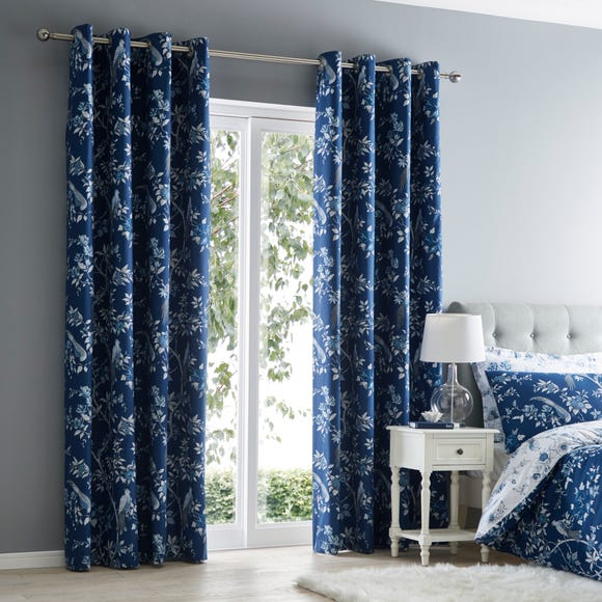 Oriental Bird Blue Blackout Eyelet Curtains  undefined
